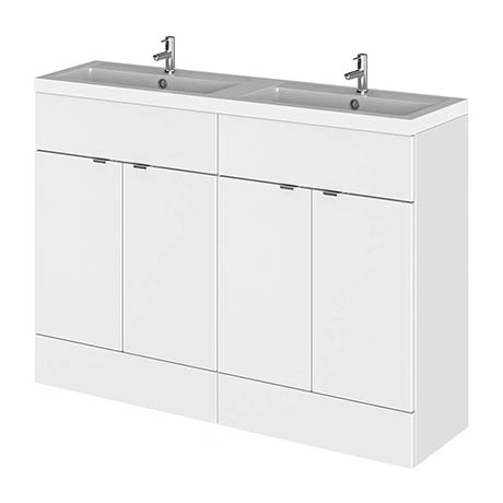 Hudson Reed 1200mm Gloss White Full Depth Floorstanding Unit & Double Basin