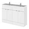 Hudson Reed Fusion 1200mm Gloss White Full Depth Floorstanding Unit & Double Basin profile small image view 1
