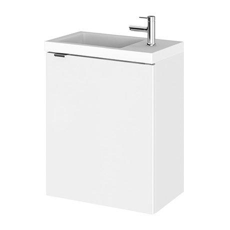 Hudson Reed 400mm Gloss White Wall Hung Compact Unit & Basin