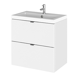 Hudson Reed Fusion 500mm Gloss White Full Depth Wall Hung 2-Drawer Unit & Basin