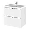 Hudson Reed Fusion 500mm Gloss White Full Depth Wall Hung 2-Drawer Unit & Basin profile small image view 1
