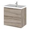 Hudson Reed 600mm Driftwood Full Depth Wall Hung 2-Drawer Unit & Basin profile small image view 1