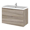 Hudson Reed Fusion 800mm Driftwood Full Depth Wall Hung 2-Drawer Unit & Basin profile small image view 1