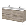 Hudson Reed 1200mm Driftwood Full Depth Wall Hung 4-Drawer Unit & Double Basin profile small image view 1