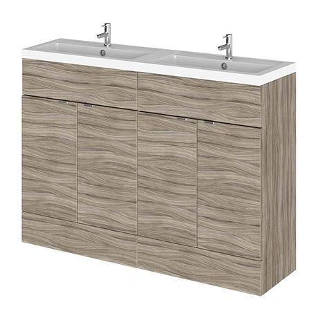 Hudson Reed Fusion 1200mm Driftwood Full Depth Floorstanding Unit & Double Basin