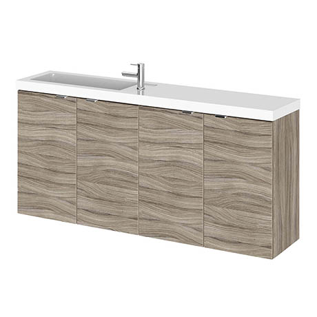 Hudson Reed 1200mm Driftwood Wall Hung Compact Combination Unit (600 Vanity x 2)