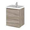 Hudson Reed Fusion 400mm Driftwood Full Depth Wall Hung Unit & Basin profile small image view 1