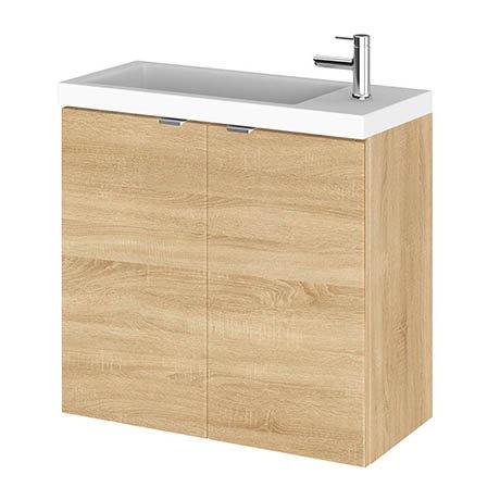 Hudson Reed 600mm Natural Oak Wall Hung Compact Unit & Basin