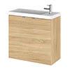 Hudson Reed 600mm Natural Oak Wall Hung Compact Unit & Basin profile small image view 1