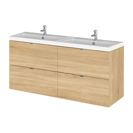Hudson Reed 1200mm Natural Oak Full Depth Wall Hung 4-Drawer Unit & Double Basin
