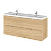 Hudson Reed 1200mm Natural Oak Full Depth Wall Hung 4-Drawer Unit & Double Basin profile small image view 1
