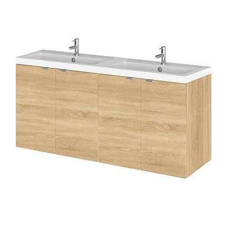 Hudson Reed 1200mm Natural Oak Full Depth Wall Hung Unit & Double Basin