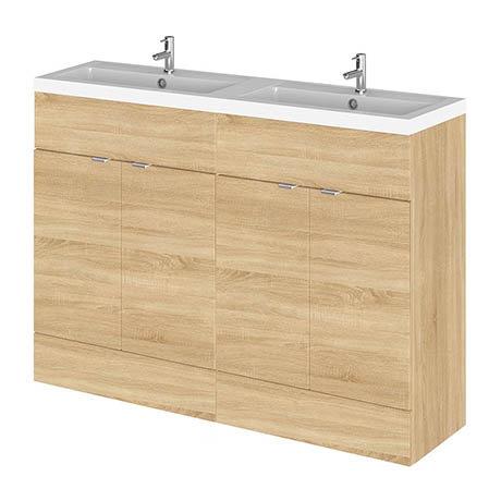 Hudson Reed 1200mm Natural Oak Full Depth Floorstanding Unit & Double Basin