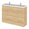 Hudson Reed Fusion 1200mm Natural Oak Full Depth Floorstanding Unit & Double Basin profile small image view 1
