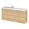 Hudson Reed 1200mm Natural Oak Wall Hung Compact Combination Unit (600 Vanity x 2) profile small image view 1