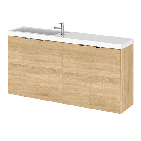 Hudson Reed Fusion 1000mm Natural Oak Compact Wall Hung Unit & Basin