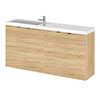 Hudson Reed Fusion 1000mm Natural Oak Compact Wall Hung Unit & Basin profile small image view 1