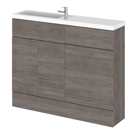Hudson Reed 1100mm Grey Avola Compact Combination Unit (600 Vanity + 500 WC unit)