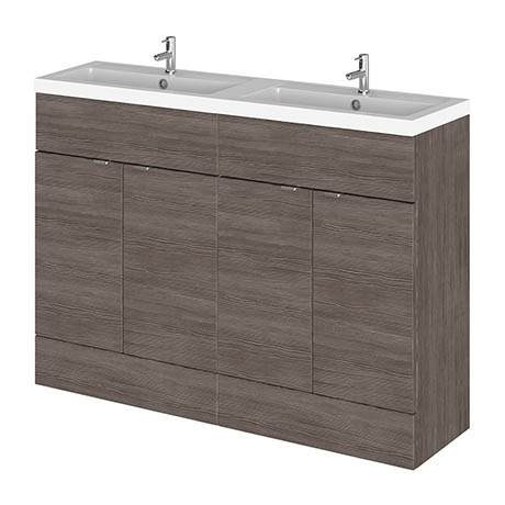 Hudson Reed 1200mm Grey Avola Full Depth Floorstanding Unit & Double Basin