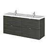 Hudson Reed 1200mm Hacienda Black Full Depth Wall Hung 4-Drawer Unit & Double Basin profile small image view 1