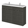 Hudson Reed Fusion 1200mm Hacienda Black Full Depth Floorstanding Unit & Double Basin profile small image view 1