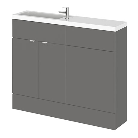 Hudson Reed 1100mm Gloss Grey Compact Combination Unit (600 Vanity + 500 WC unit)