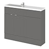 Hudson Reed 1100mm Gloss Grey Compact Combination Unit (600 Vanity + 500 WC unit) profile small image view 1