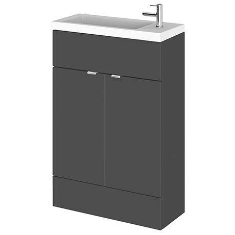 Hudson Reed Fusion Gloss Grey 605x260mm Compact Vanity Unit & Basin