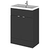 Hudson Reed Fusion Gloss Grey 605x360mm Vanity Unit & Basin profile small image view 1