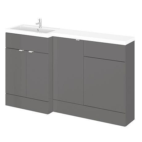 Hudson Reed 1500mm Gloss Grey Combination Unit (600 Vanity, 400 Base Unit + 500 WC Unit)