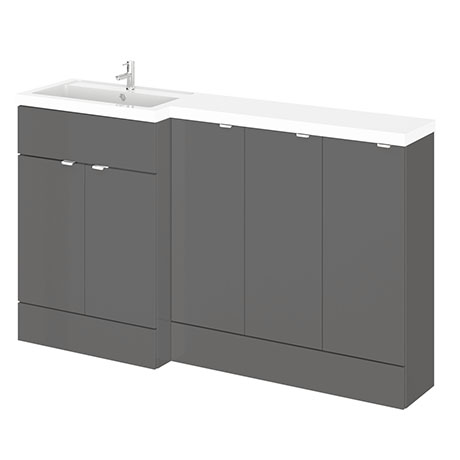Hudson Reed 1500mm Gloss Grey Combination Unit (600 Vanity + 300 Base Unit x 3)