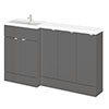 Hudson Reed 1500mm Gloss Grey Combination Unit (600 Vanity + 300 Base Unit x 3) profile small image view 1