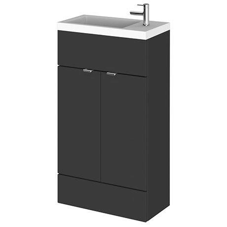 Hudson Reed Fusion Gloss Grey 505x260mm Compact Vanity Unit & Basin