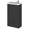 Hudson Reed Fusion Gloss Grey 505x260mm Compact Vanity Unit & Basin profile small image view 1