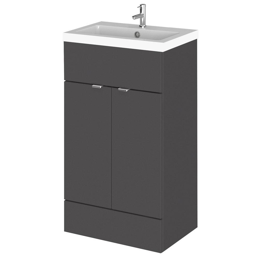 Hudson Reed Fusion Gloss Grey 505x360mm Vanity Unit & Basin