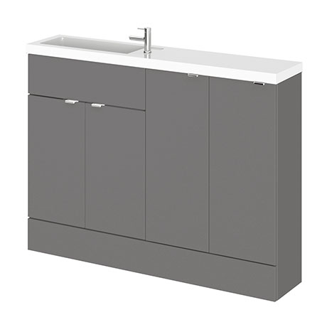 Hudson Reed 1200mm Gloss Grey Compact Combination Unit (600 Vanity, 300 Base Unit x 2)
