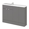 Hudson Reed 1200mm Gloss Grey Compact Combination Unit (600 Vanity, 300 Base Unit x 2) profile small image view 1