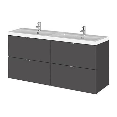 Hudson Reed 1200mm Gloss Grey Full Depth Wall Hung 4-Drawer Unit & Double Basin