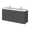 Hudson Reed 1200mm Gloss Grey Full Depth Wall Hung 4-Drawer Unit & Double Basin profile small image view 1