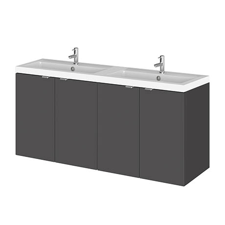 Hudson Reed 1200mm Gloss Grey Combination Unit & Double Basin (600 Vanity x 2)