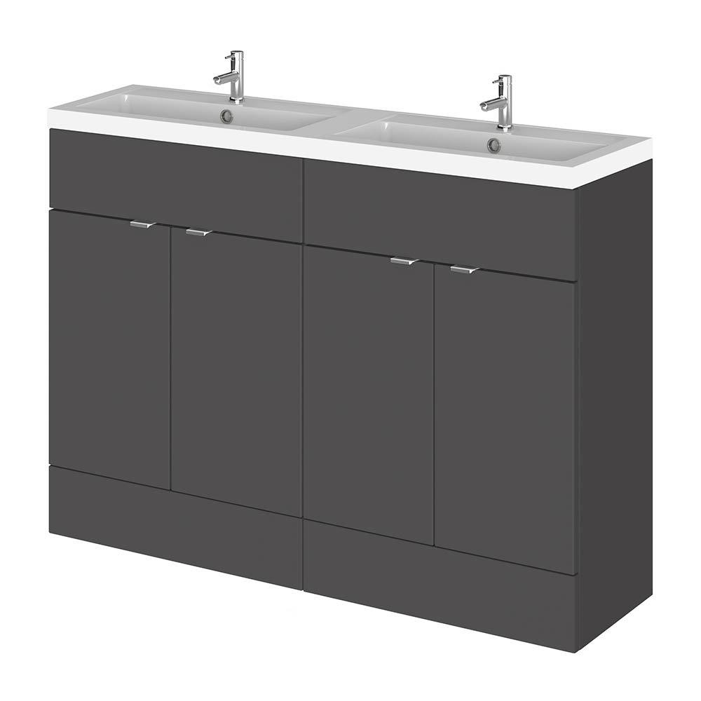 Hudson Reed Fusion 1200mm Gloss Grey Full Depth Floorstanding Unit & Double Basin