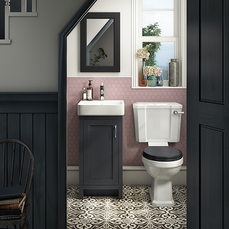 Chatsworth Traditional Graphite Cloakroom Suite (Vanity Unit + Close Coupled Toilet)