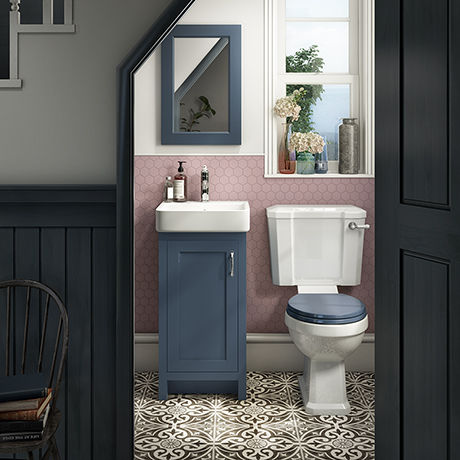 Chatsworth Traditional Blue Cloakroom Suite (Vanity Unit + Close Coupled Toilet)