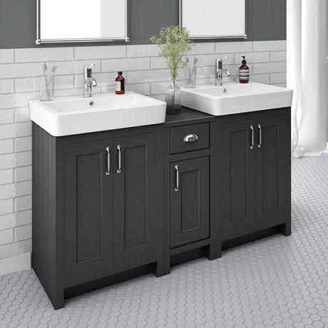Chatsworth Traditional Graphite Double Basin Vanity + Cupboard Combination Unit