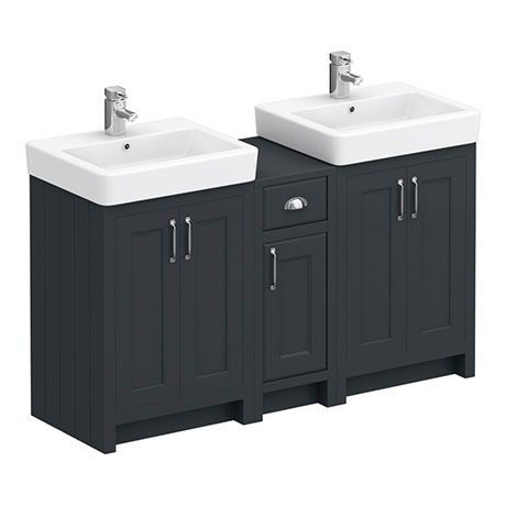 Chatsworth Traditional Graphite Double Basin Vanity + Cupboard Combination Unit