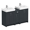 Chatsworth Traditional Graphite Double Basin Vanity + Cupboard Combination Unit profile small image view 1