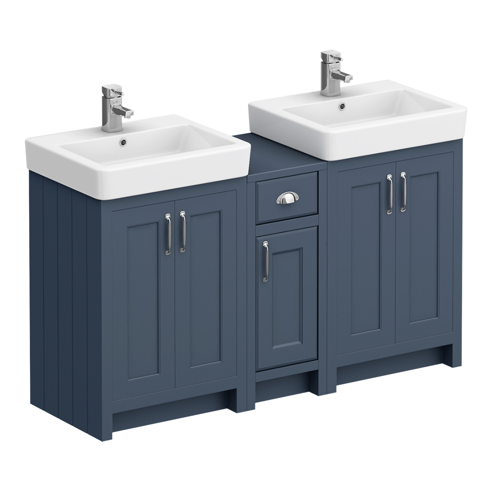 Chatsworth Traditional Blue Double Basin Vanity + Cupboard Combination Unit