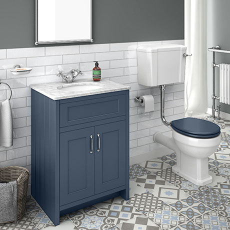 Chatsworth Blue White Marble 4-Piece Low Level Bathroom Suite