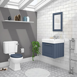Chatsworth Blue Cloakroom Suite (Wall Hung Vanity Unit + Close Coupled Toilet)