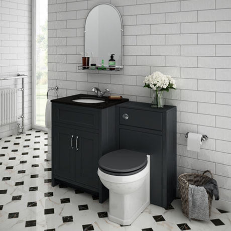 Chatsworth Black Marble Traditional Graphite Vanity Unit + Toilet Package